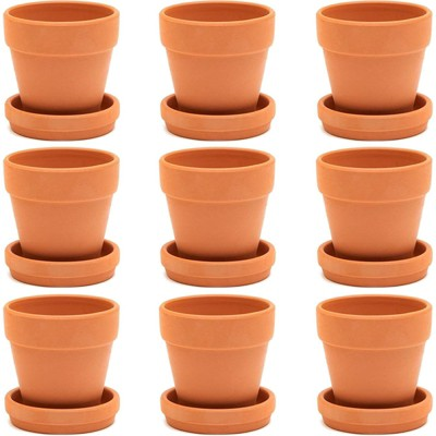 Juvale 9 Pack Terra Cotta Clay Pots with Saucer, Small Plant Pots, Planters for Succulents, 3 x 3 x 3.2 in
