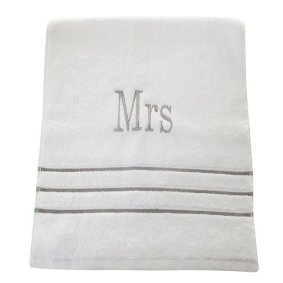 Monogram Hand Towel Mrs - White/Skyline Gray - Fieldcrest®