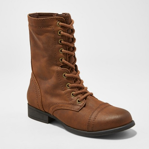 Women's Cassie Wide Width Combat Boots - Mossimo Supply Co.™ Cognac 7W - image 1 of 3