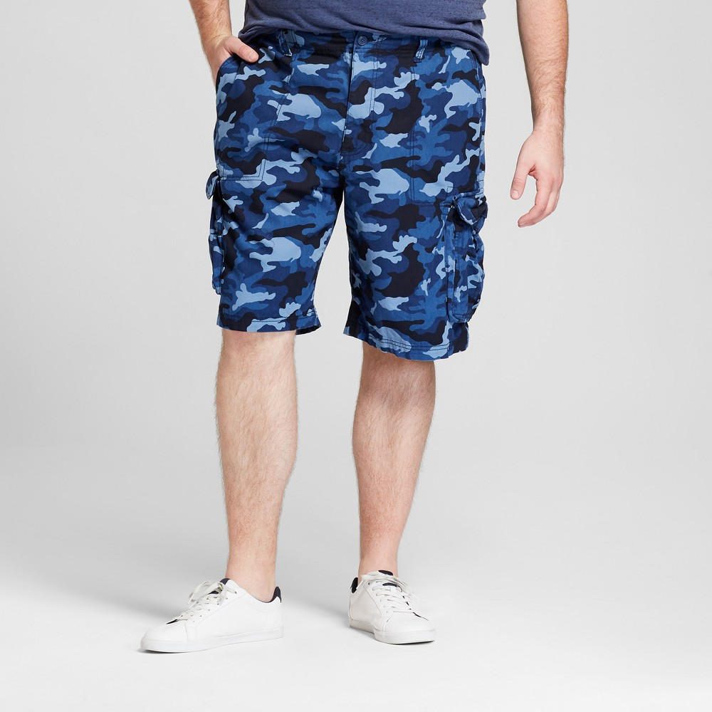 "Image of ""Men's Camo Print 11"""" Big & Tall Ripstop Cargo Shorts - Goodfellow & Co Blue Camo 56"""