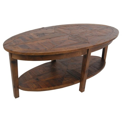 Oval Coffee Table Hardwood Natural - Alaterre Furniture® - image 1 of 3