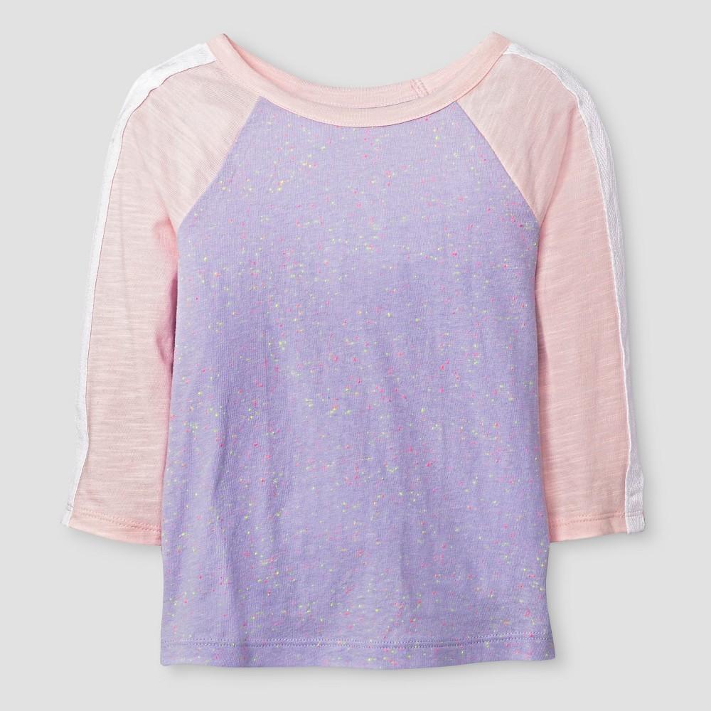 Toddler Girls' 3/4 Sleeve Reglan T-Shirt - Cat & Jack Purple/Pink 6X