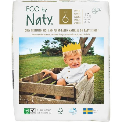 Eco By Naty 6pk Premium Disposable Diapers for Sensitive Skin - Size 6 (102ct)