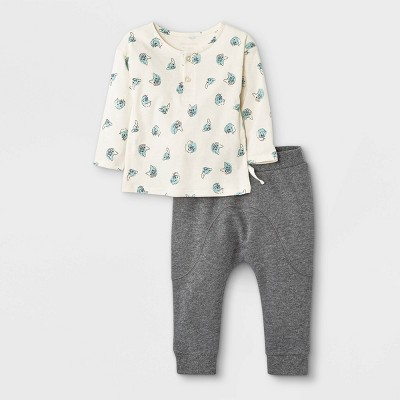Grayson Mini Baby Boys' French Terry Jersey Henley Top & Bottom Set - Charcoal Gray