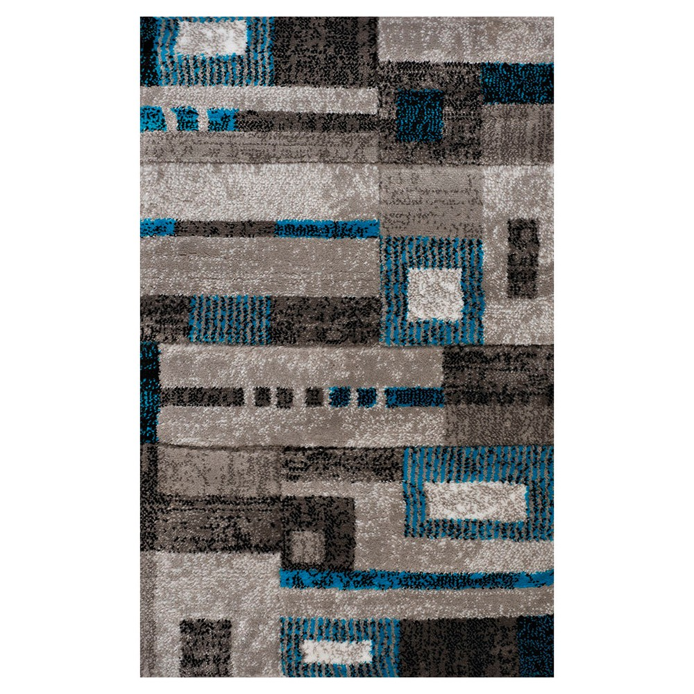 Image of Blue Geometric Hooked Accent Rug - (2'x6') - United Weavers