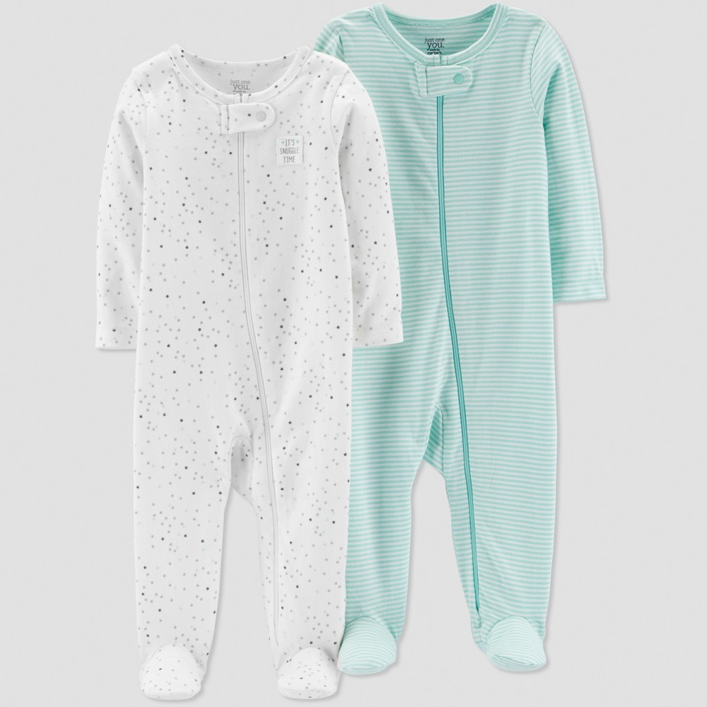 Baby's 2pk Sleep 'N Play - Just One You made by carter's Gray 6M, Infant Unisex, White