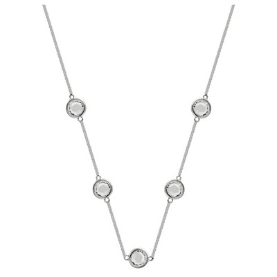 "Station Necklace in Silver Plate with 5 Bezel Set Crystals from Swarovski - Clear/Gray (18"")"