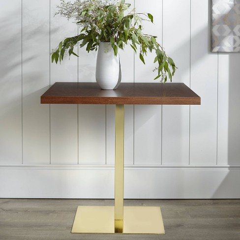 Square Dining Table Walnut Gold Lateral