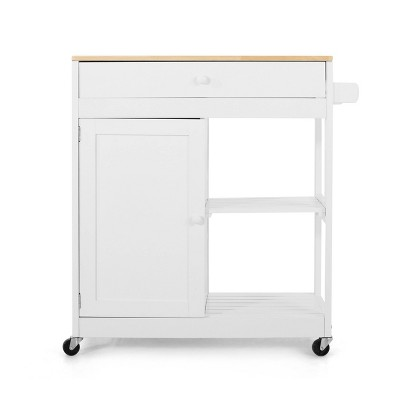 Telfair Kitchen Cart with Wheels White/Natural - Christopher Knight Home