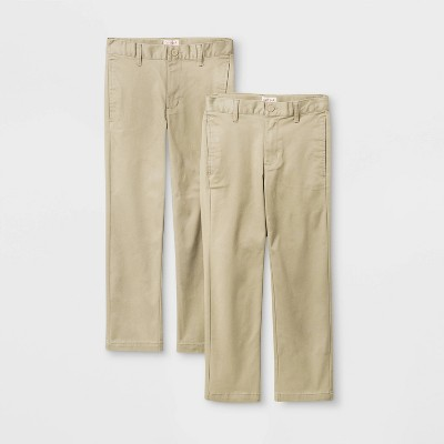 Boys' 2pk Flat Front Stretch Uniform Straight Fit Pants - Cat & Jack™ Khaki