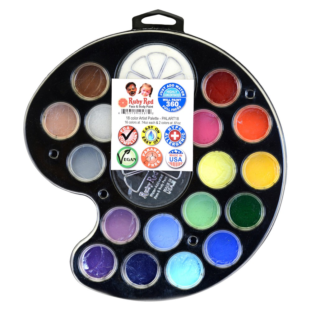 Image of Face & Body Paint Kit Artist Palette 18pc - Ruby Red