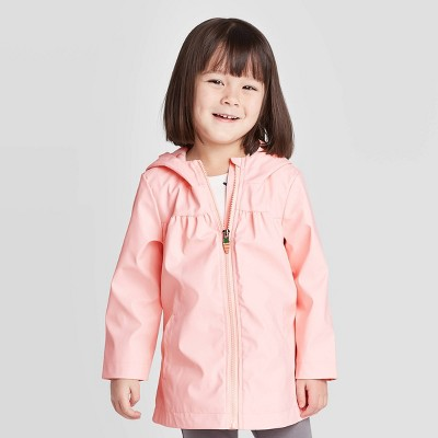 Toddler Girls' Bunny Ears Rain Jacket - Cat & Jack™ Peach 12M