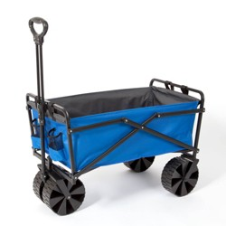 Seina Manual 150 Pound Steel Frame Folding Garden Cart Beach Wagon, Blue/Gray