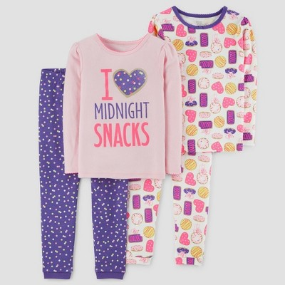 Baby Girls' 4pc Midnight Snacks Long Sleeve Pajama Set - Just One You® made by carter's Pink 12M
