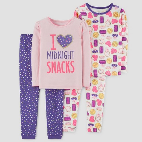 1cc2325f08d0 Baby Girls  4pc Midnight Snacks Long Sleeve Cotton Pajama Set - Just ...