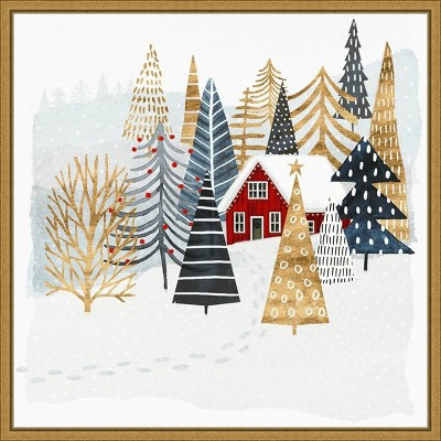 """16"""" x 16"""" Christmas Chalet I Tree by Victoria Borges Framed Canvas Wall Art - Amanti Art"""