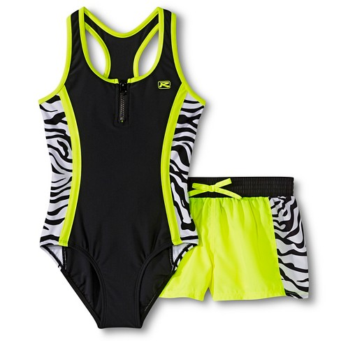 R-Way by ZeroXposur Girls' 1-Piece Zebra Stripe Swimsuit and Swim Shorts Set - image 1 of 3