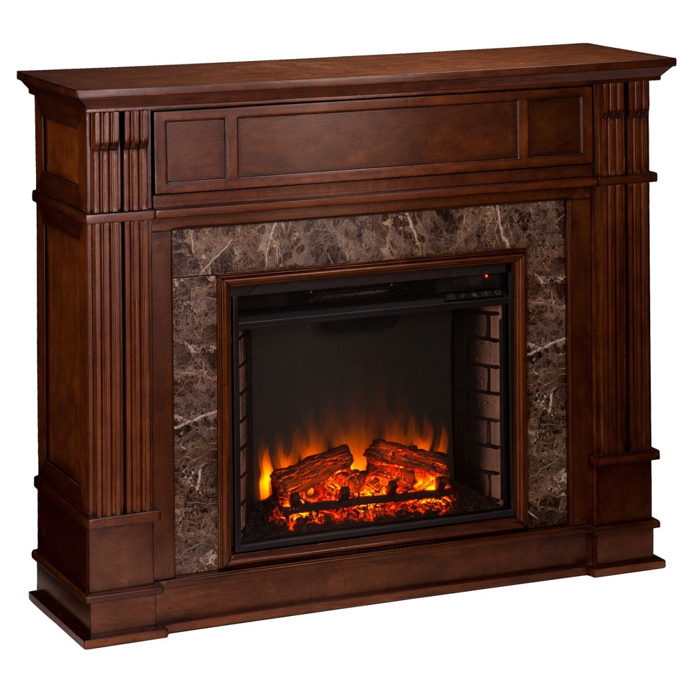 Highpoint Faux Stone Infrared Electric Media Fireplace - Whiskey Maple (Brown) - Aiden Lane
