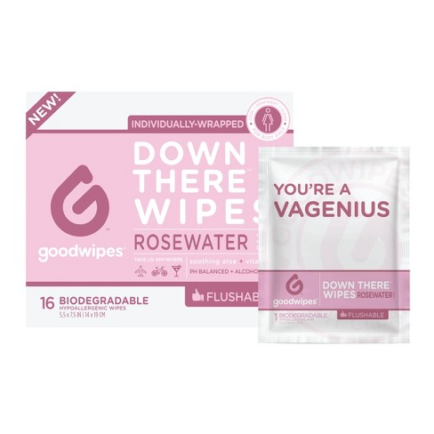 GoodWipes Flushable Down There Rosewater Cleansing Wipes - 16ct - image 1 of 4