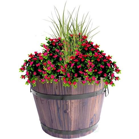Gardenised Wooden Whiskey Barrel Planters - image 1 of 2