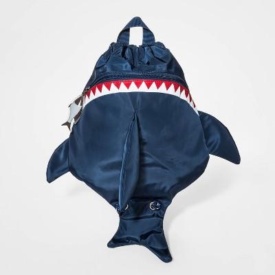 Boys' 3D Shark Fin Cinch Drawstring Backpack - Cat & Jack™ Navy