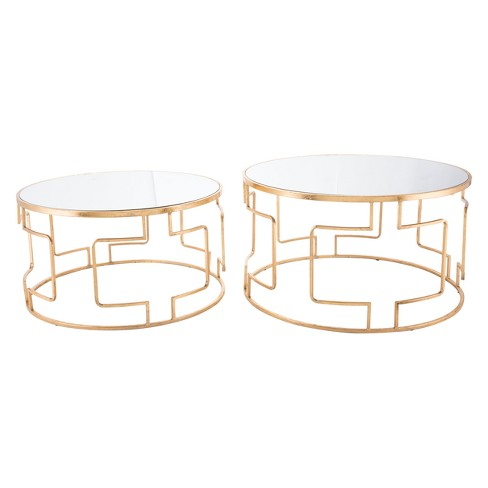 Luxe Mirror and Steel Round Accent Tables (set of 2) - Gold - ZM Home - image 1 of 1