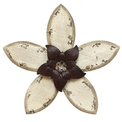 "14.75"" x 13.98"" Antique Flower Wall Decor Espresso/White - Stratton Home Décor"