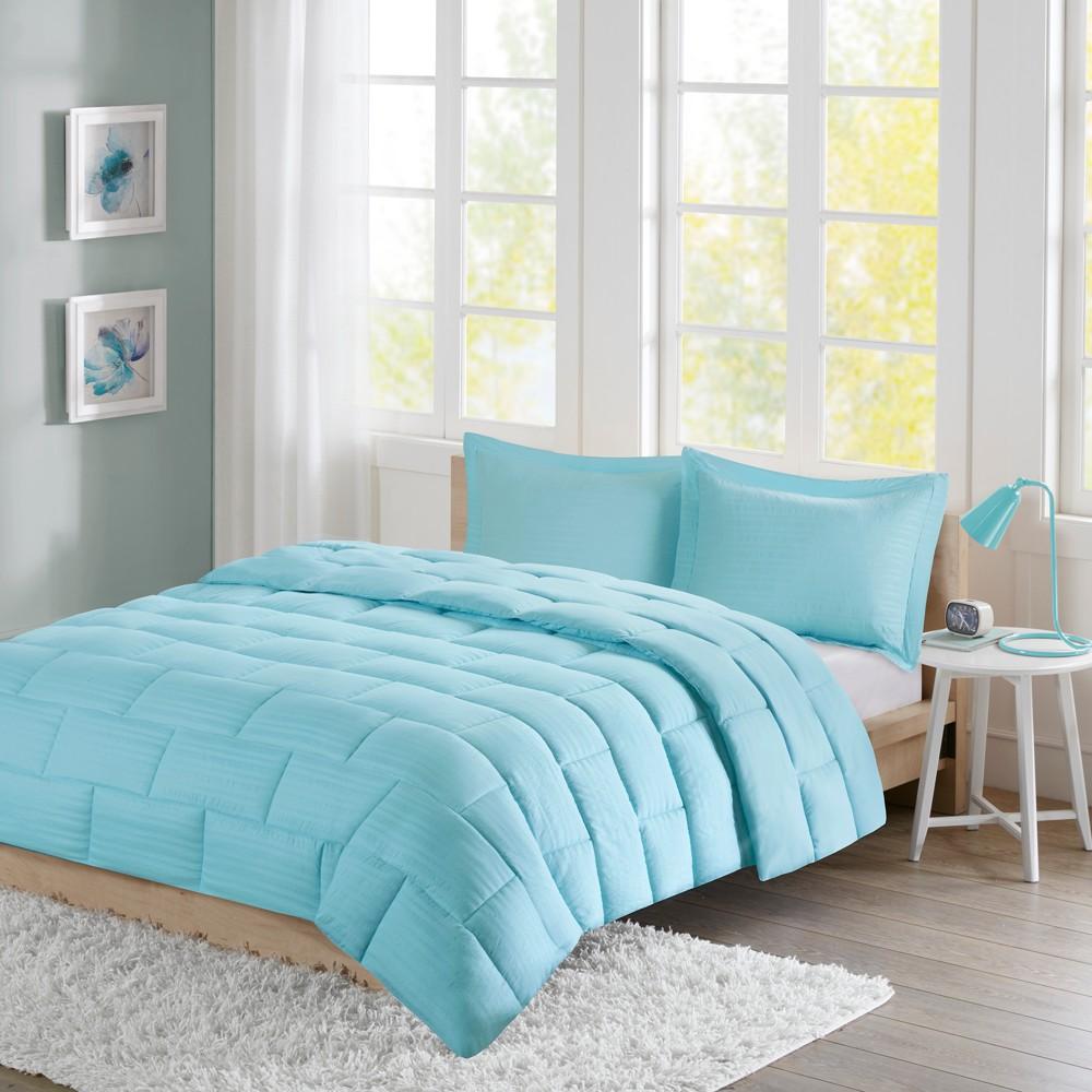 Buy Ava Seersucker Down Alternative Comforter Set (Full Queen) Aqua - 3pc