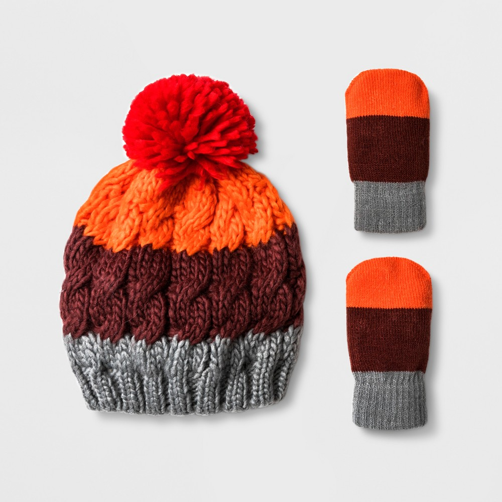 Toddler Boys' Striped Hat and Mitten Set - Cat & Jack Red 12-24M
