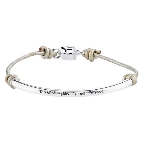 "Women's Silver Plated 'Mother Daughter Friends Forever' Leather Cord Bracelet - Silver/Silver (7.5"") - image 1 of 1"