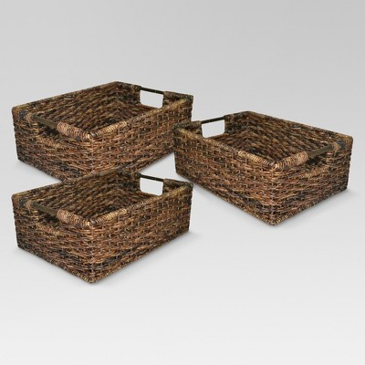 Wicker Media Basket Set of 3 - Dark Global Brown - Threshold™