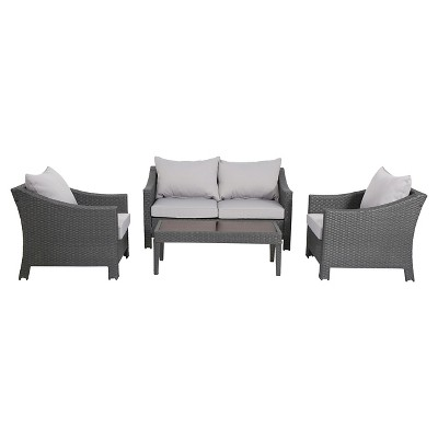 Antibes 4pc Wicker Patio Chat Set with Cushions - Gray - Christopher Knight Home