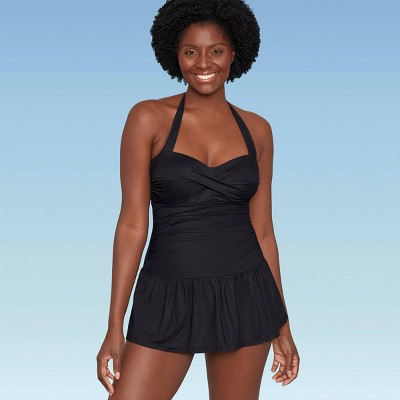 Women's Slimming Control Ruched Front Swim Dress - Dreamsuit by Miracle Brands Black