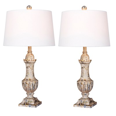 Distressed Decorative Resin Table Lamps Antique Ivory  - Fangio Lighting