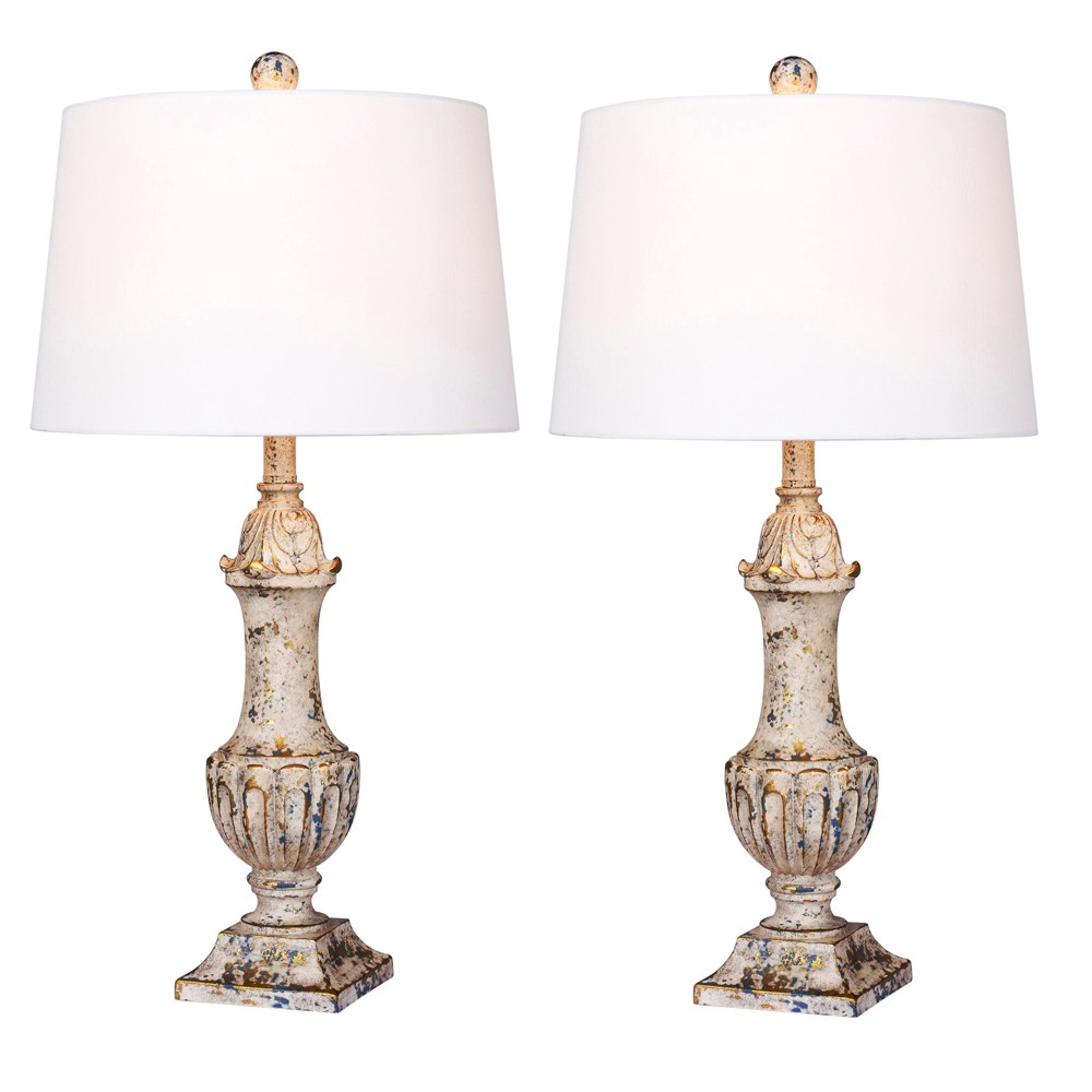 Distressed Decorative Resin Table Lamps Antique Ivory (Lamp Only) - Fangio Lighting
