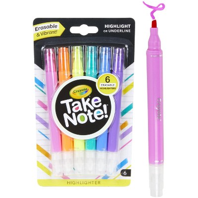 Crayola Take Note! Chisel Tip Erasable Highlighters, Assorted Colors, set of 6