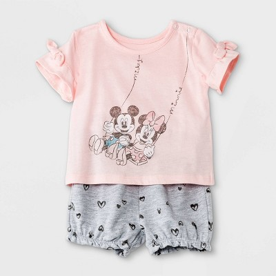 Baby Girls' 2pk Minnie Mouse French Terry Short Sleeve Top and Bottom Set - Light Pink 3-6M