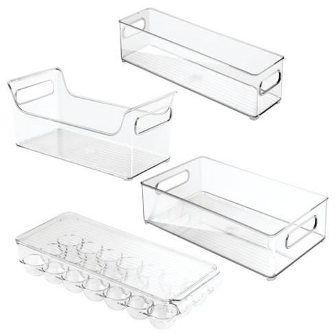 mDesign Plastic Kitchen Cabinet, Fridge Food Storage Organizer, Set of 4 -  Clear
