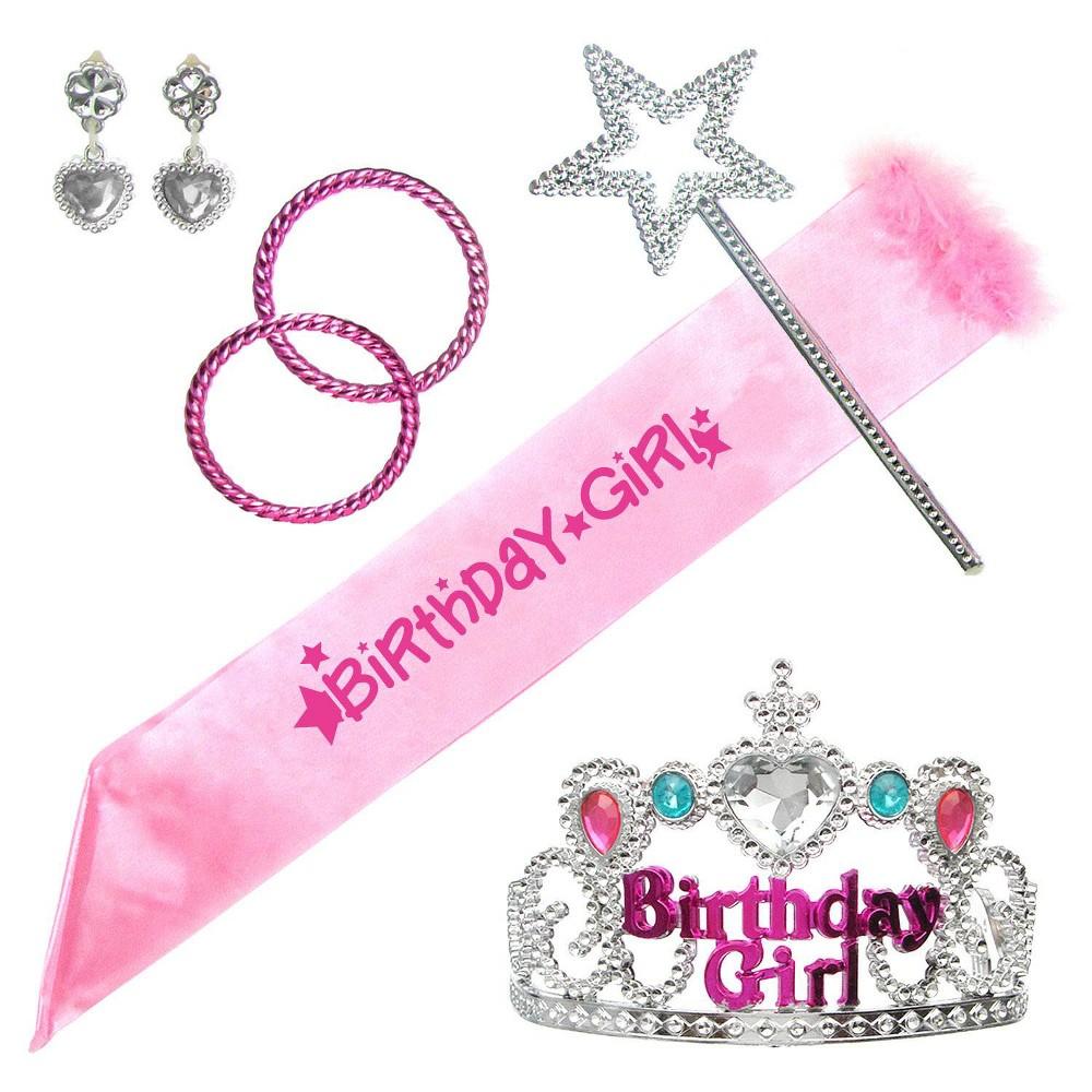 Image of Halloween 6pc Birthday Girl Costume Set Pink, Women's