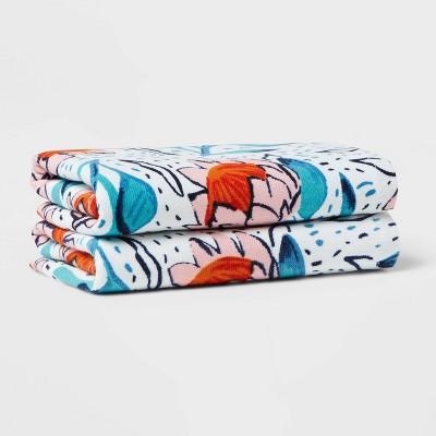 2pk Protea Floral Hand Towel Set Blue - Opalhouse™