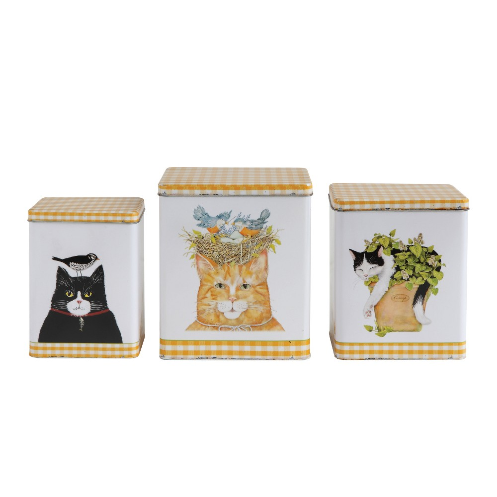 Decorative Container Set of 3 Cats - Yellow Gingham - 3R Studios