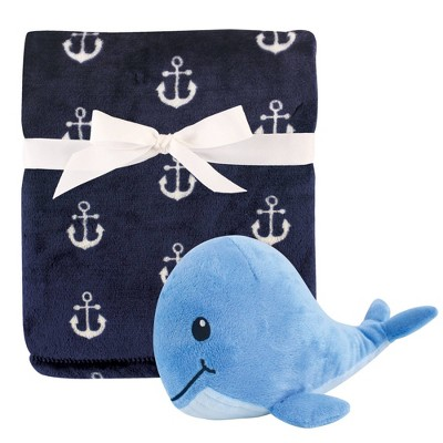 Hudson Baby Unisex Baby Plush Blanket with Toy - Anchor Whale One Size