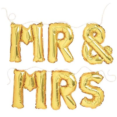 Gold Foil Phrase Balloons Mr And Mrs - Spritz™