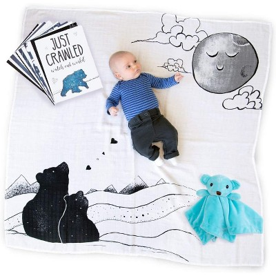 JumpOff Jo - 3-Piece Set, Swaddle Blanket, Security Bear, Monthly Photo Cards
