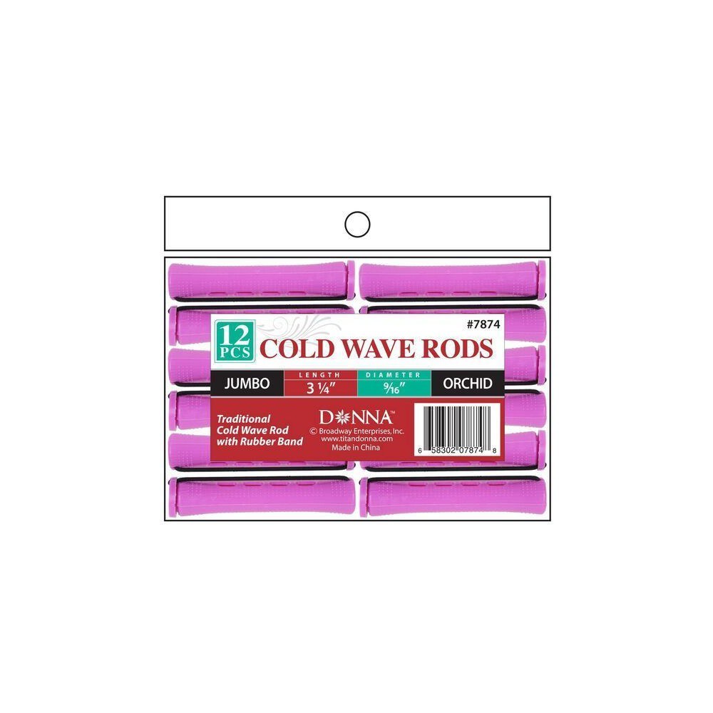 Donna Cold Wave Jumbo Rods - Orchid - 3 1/4, Pink
