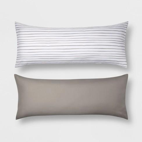 Body Pillow Covers.Mircofiber Striped Body Pillow Cover 2pk Gray Room Essentials