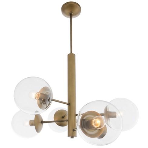 Mid-Century 6-Light Chandelier Antique Brass - Rogue Decor Co. - image 1 of 4