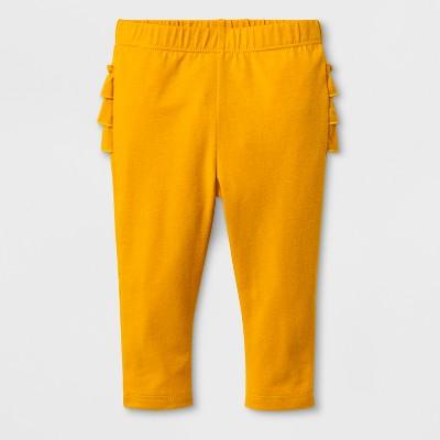 Baby Girls' Ruffle Leggings - Cat & Jack™ Flower Orange 0-3M