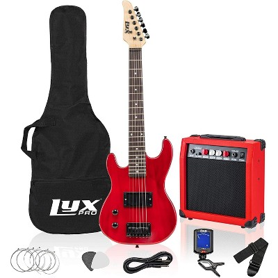 LyxPro Left Hand 30 Inch Electric Guitar Kit for Lefty Kids 3/4 Size Beginner's Guitar, Amp, Six Strings, Two Picks, Shoulder Strap, Digital Clip On Tuner, Guitar Cable and Soft Case Gig Bag - Red