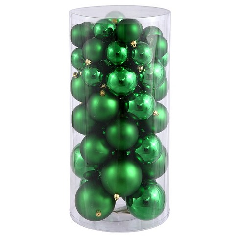 60ct Green Plastic Ball Christmas Ornament Set - image 1 of 1